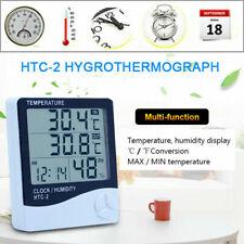 Digital LCD Termómetro Higrómetro Medidor De Humedad Reloj de temperatura de Sala Indoor