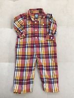 Baby Gap Boys Outfit John John Size 12-18 Month Cotton Light Checked