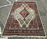 Vintage Anatolian Oriental Large Carpet 4x7 ft Handwoven Wool Living Room Carpet