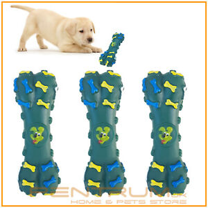 3 x Puppy Dog toy Bone shaped Green Squeaky Chew Bite Fun Play Dental teeth toy