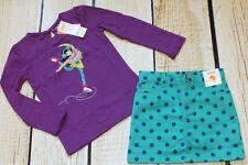 NWT 5 5T Gymboree Color Me Happy purple ice skating top & aqua dot skirt set