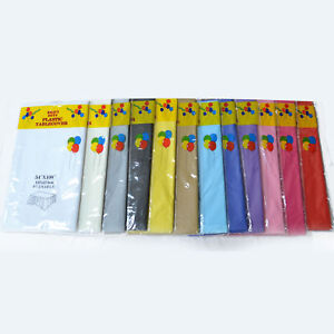 """12 x PLASTIC OBLONG TABLECLOTH (54""""x108"""") - TABLE CLOTHS PARTY - MANY COLOURS!"""