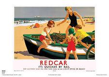 REDCAR CLEVELAND RETRO VINTAGE RAILWAY TRAVEL POSTER ADVERTISING ART HOLIDAY
