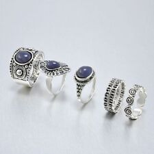 Rings Antique Nature Blue Vintage Retro Silver Joint Rings Women Jewelry