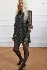 BNWT The Vampire's Wife x H&M Black & Silver Lace Mini Dress Size 16