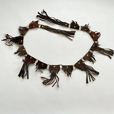 Fringe Suede Leather Belt_Brown_Western_Hobo_Hippie_Adjustable_Made in Mexico