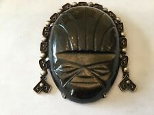 Modernist Vintage Sterling Silver Obsidian Warrior Face Headdress Pin Marked ENL