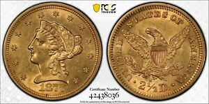 1877-S $2 1/2 $2.50 Liberty Head Gold Coin PCGS AU58 ☆ FREE SHIPPING
