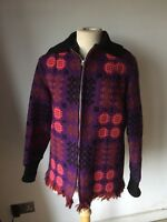 Welsh Tapestry Wool Jacket Zipped Corgi 12-14 Purple Pink Vintage Bomber