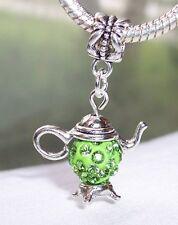 Teapot Green Rhinestone August Birthstone Dangle Charm for European Bracelets