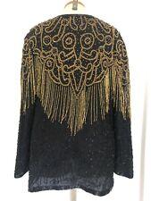 Vintage Black Sequin Silk Jacket Blazer XL Evening Gold Chandelier Fringe Party