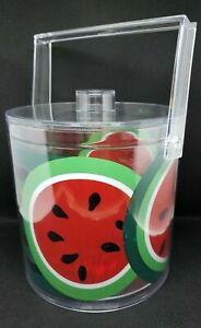 Mid Century Stotter Large Plastic Ice Bucket WATERMELON Removable Liner Barware