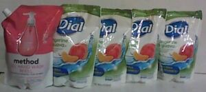 NEW MIXED LOT OF 5 Dial & Method Moisturizing & Gel Hand Wash Refill