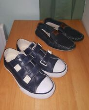 Lot 2 CON VERSE look Velcro  & moccasin blue leather shoes BOYS size 13 Brazil