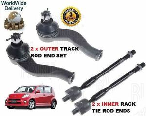 FOR DAIHATSU SIRION 1.5 2005-->NEW 2x OUTER & 2x INNER TRACK TIE RACK ROD END