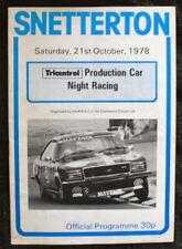 SNETTERTON PRODUCTION CAR NIGHT PROGRAMME 21 OCT 1978