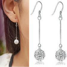 Womens Silver Hook Earrings Crystal Disco Ball Long Drop Dangle Earrings Jewelry