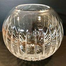 Vintage BIRKS Lead Cut Crystal LARGE ROSE BOWL Vase MARKED EXCELLENT