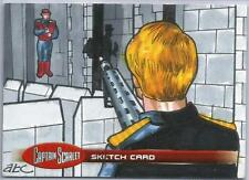 Captain Scarlet Sketch Card by Adam Cleveland of Captain Scarlet under attack