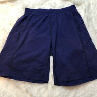 Lululemon mens core shorts blue/black striped sm.