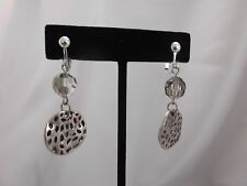 """Clip on silver earrings w/dangling clear bead & flat textured circle  2"""""""