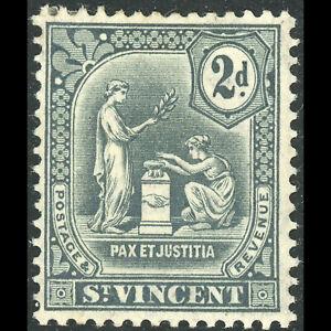 ST VINCENT 1909 2d Grey. SG 104. Lightly Hinged Mint. (WD833)