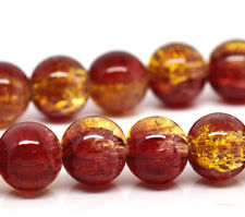 50 BEAUTIFUL HIGH QUALITY GLASS ROUND GOLDEN RED BEADS - STUNNING 10mm