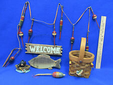 Fishing Decor Welcome Plaque Basket Black Bear Boat Figurine Lures Garland 5 Lot