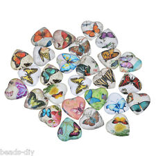BD 10x Glass Mix Butterfly20mm Heart Cameo Cabochon for Jewellery&Model Making