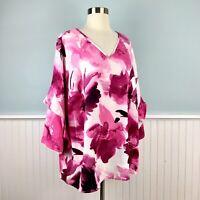 Size 2X Alfani Pink Floral Ruffle 3/4 Sleeve Top Blouse Shirt Women's Plus NWT