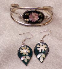 Bracelet Earrings Jl327 Mexican Silvertone Abalone Onyx