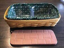 Vintage Longaberger Bread Basket 2003 With Plastic Protectors, Brick, & Liner.