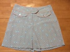 New IZOD Blue Tan Check Floral print SHORTS Pleated Culottes Golf Cool FX XFG 8