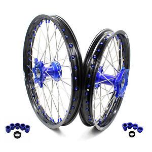 KKE 21/19 Cast Wheels Rim Set for YAMAHA YZ125 250 99-21 YZ250F 450F 01-21 Blue