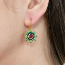 Amazing Ruby Vermeil 14K Gold Over Sterling Silver Enamelled Earring