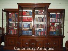 Antique Breakfront Bookcase Oak Circa 1840