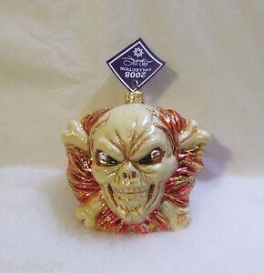 Slavic Treasures Glass Ornament 2008 Joe Inferno Skull Cross Bones Halloween S17