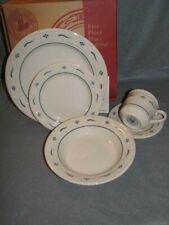 Lot 5 Piece Place Setting Longaberger Pottery Plate Bowl Wt Classic Blue Usa Nib