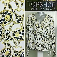 Topshop Animal Print Wrap Top 10 Blouse Jacquard Chain Key L/Sleeve Stars BNWT