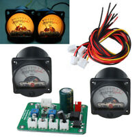 AU/2Pcs 10-12V VU Panel Meter 500UA Warm Back Light Recording w/ Driver Module