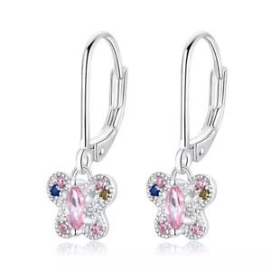 Kinder Ohringe Creolen echt 925 Silber Mädchen Ohrringe Schmetterling Ohrringe