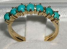 9K Yellow Solid Gold Ladies Natural Turquoise Eternity Band Ring