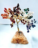 Chakra Tree Crystal From Brazil Chips Yellow Calcite Base Healing Reiki