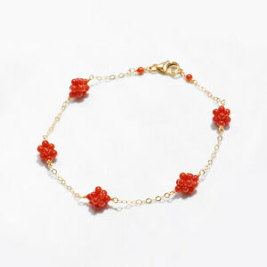 """Hand woven!Baby Size Italian Red Coral Bracelet 14K Gold Filled,Handmade 7.2"""""""