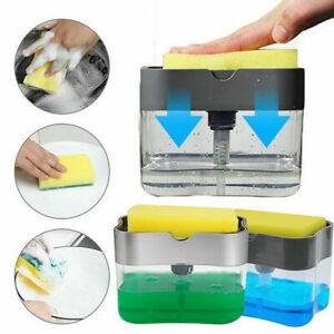 2 in1 Liquid Soap Pump Dispenser ABS Kitchen Sponge Holder Press Countertop Rack