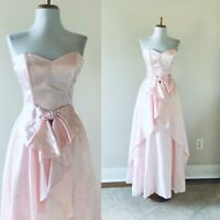 VTG Strapless GUNNE SAX Pink Prairie Prom Long Ruffle Dress With Bow McClintock