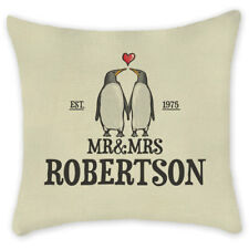 PERSONALISED Cushion Cover Pillow Case Penguin Love Gift for Couples Linen