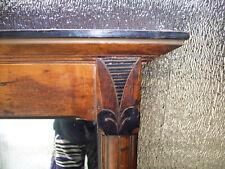 """Large Victorian Eastlake Walnut Hall Mirror Columned """"Lotus"""" Ebonized"""