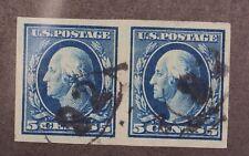 Scott 347 - 5 Cents Washington - Used - Imperf Pair - SCV - $100.00