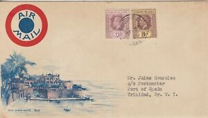 LEEWARD IS 1929 LOVELY ILLUSTRATED AIR MAIL COVER 3D & 6D, ST JOHNS TO TRINIDAD